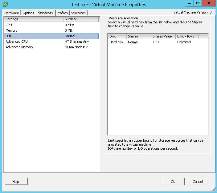 Как ограничить ресурсы виртуальной машины Vmware ESXI 5.5-5