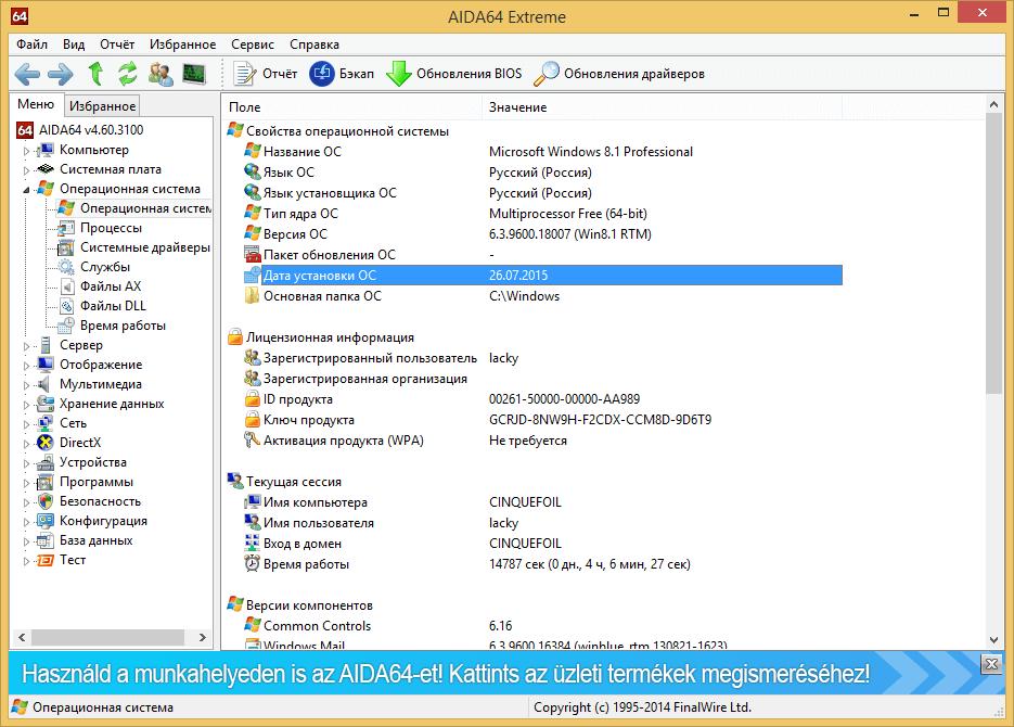 дата установки windows 10