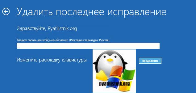 Ввод пароля от учетной записи локального пользователя
