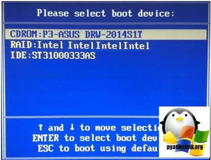 boot menu компьютера
