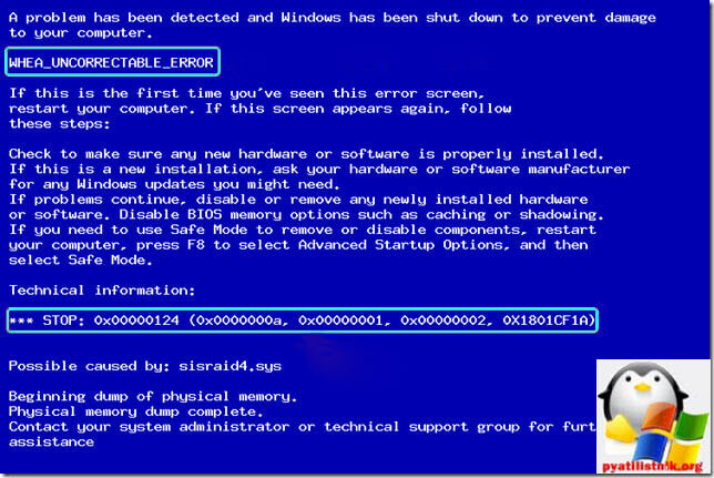 windows stopcode whea uncorrectable error