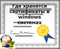 Где хранятся сертификаты в windows системах