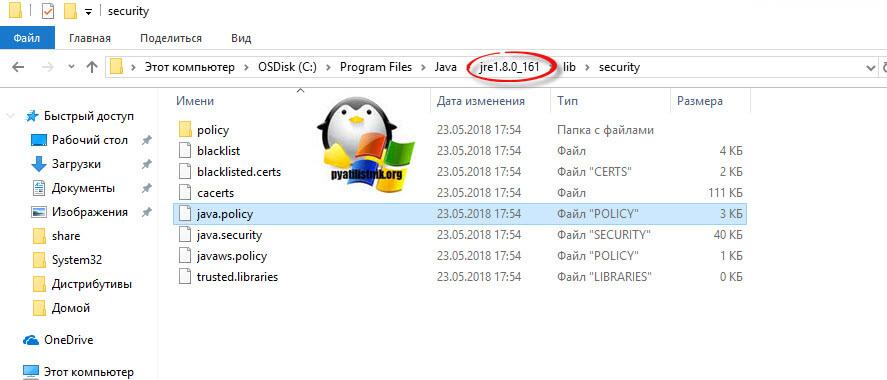 Поиск файла java.policy