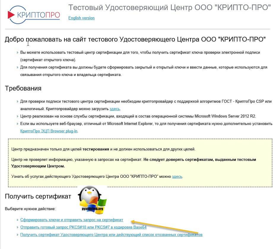получить тестовый сертификат-01