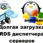 Долгая загрузка RDS диспетчера серверов