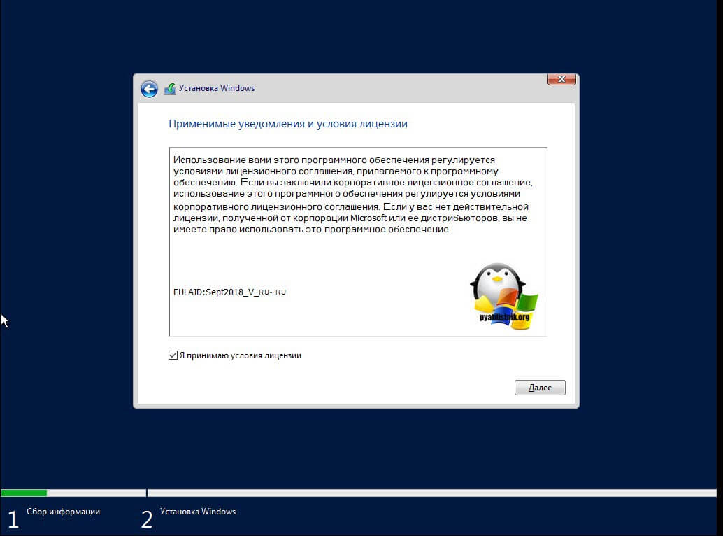 Принятие лицензии в Windows Server 2019