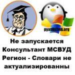 Словари не актуализированы в Консультант МСВУД Регион