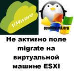Не активно поле migrate на виртуальной машине ESXI