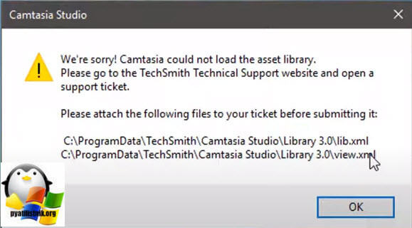 Camtasia could not load the asset library